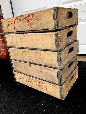 5 Vintage 1960's Faded Wood Soda Crates Pepsi Coke 7up 24 Divider Crates