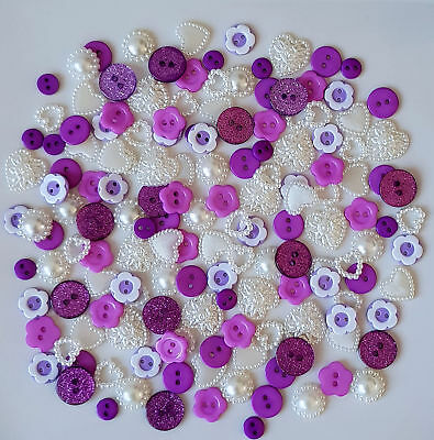 150 Stunning Purple Ivory Wood & Resin Buttons Scrapbooking Craft Diy Satin Bows
