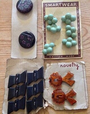 Collection of Vintage Buttons on Original Card - 2 Sets Glass/ceramic Buttons