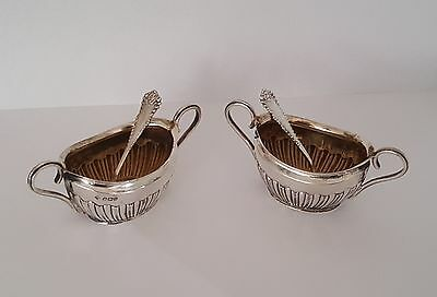 Antique Solid Silver Gilt, Pair Of Salts, & spoons, Hallmarked Sheffield 1900.
