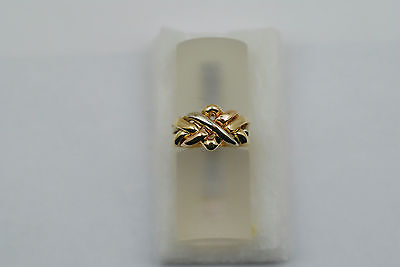 14K 3 tone solid gold 4 band puzzle ring