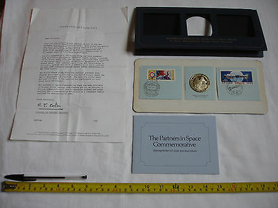 Original Joint US-Soviet Apollo-Soyuz Space Mission 1975 Silver Medal and Stamps