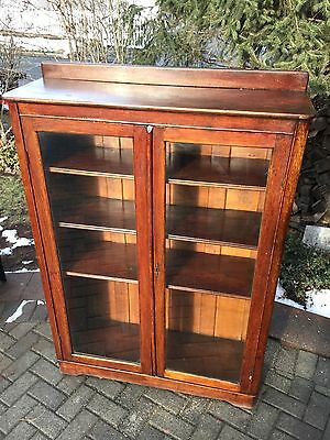 Antique Oak Display Case/Bookcase/Cabinet 1930's wavy glass