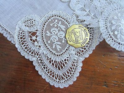 Vintage White Belgian Lace Handkerchiefs-3 Hankies-Never Used-Labels Attached