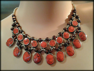 Vintage Handmade Afghan Turkmen Tribal Red Turquoise Cabochon Necklace