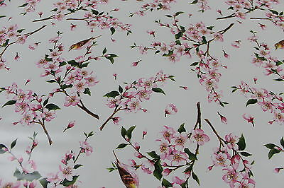 Spring Blossom with Birds Vinyl Tablecloth Wipe Easy 140CM Wide