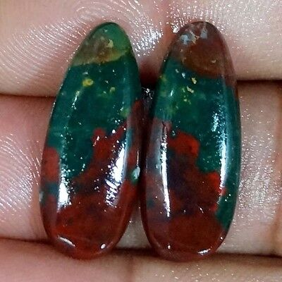 22.05Ct Natura Designer Blood Stone Mached Pair Pear Cab Untreated Loose Gemston