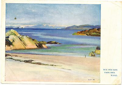 RUM and SKYE from IONA Artist Signed William Mervyn Glass WMG Vintage PC 1944