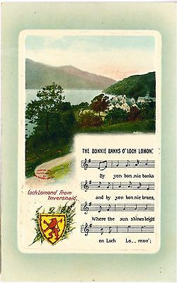 BONNIE BANKS OF LOCH LOMOND Songcard Scotland Colour Vintage PC c1910s