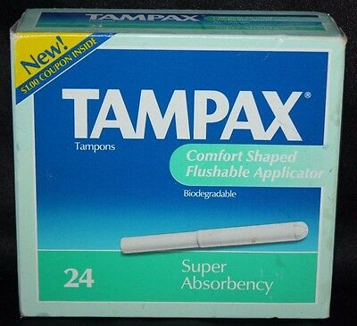 Vintage Tampax Tampons Super Absorbency 24 Count Sealed Box NOS 1991