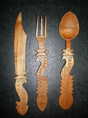 Beautiful wooden monastery cutlery with ornaments - of Mount Athos in Greece