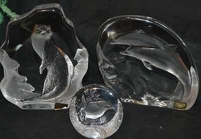 Mats Jonasson 3x Signed Crystal Paperweights -Large Otter & Dolphin + Small Wren