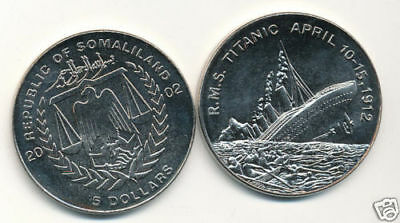2002 Somaliland $5 R.m.s. Titanic Coin 10,000 Made Unc!