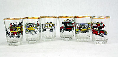 Vintage Shot Glasses History of London Bus 1847-1928 Set of 6 Boxed