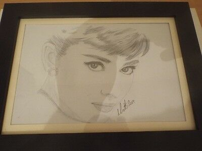 Audrey Hepburn Original Pencil Drawing Mounted, signed by artist Matthew Davies.