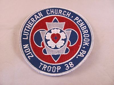 Vintage Boy Scout BSA Patch Troop 38 Zion Lutheran Church Penbrook PA Round 4 in