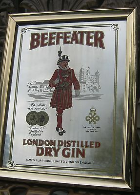 Vintage Beefeater London Dry Gin Mirrored Picture Bar / Man Cave