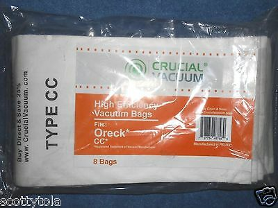 ORECK CC 8 PACK BAGS Crucial Vacuum Micro Allergen  Made in USA