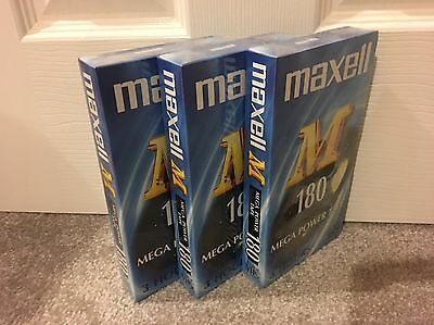 3x VHS Tapes 180 - 3 Hour Maxwell (BRAND NEW) Blank Video Cassettes Mega Power
