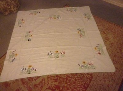 Vintage Hand Embroidered Summer Flowers Sunflower Linen Table cloth