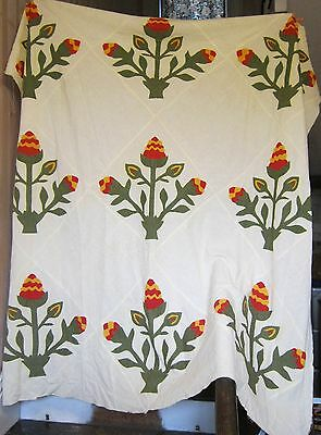 Antique Floral Feed Sack Hand Sewn Pennsylvania Quilt Top