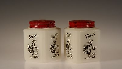 Set of 2 Vintage Tipp City Glass Lady Watering Flowers 4-Sided Flour &  Sugar