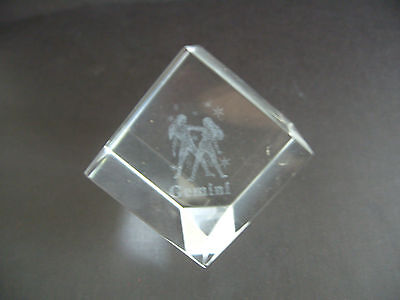 Gemini Star Sign Laser Crystal Cube