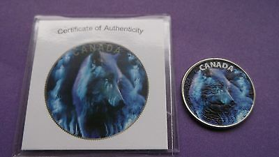 "2015 Canada 25 Cent Coloured ""wolf"" Coin W/ Coa-Rare Coin-See Pictures"