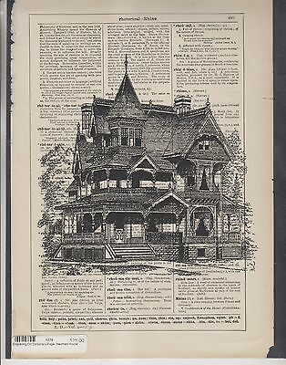 4 Engravings On Dictionary Pages - Haunted House & Sewing Machines