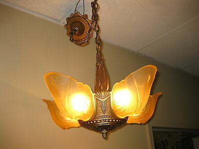 1930s Deco Cast Iron 5 Light Slip Shade chandelier by Markel