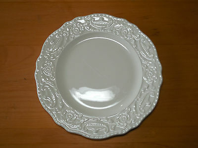 "Steubenbille ADAM ANTIQUE Set of 6 Salad Plates 8 1/2"" Ivory Embossed"