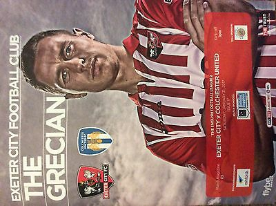 Exeter  City V Colchester United 21/1/17 League 2 Mint Programme
