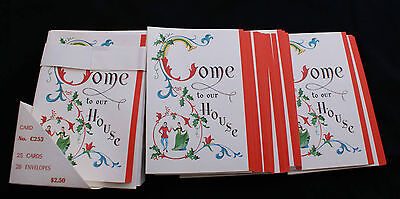Vintage Red Farm Christmas Card Invitation Victorian Look New old Stock 25 Cards