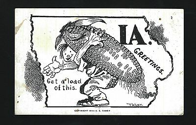 Elkader PM Iowa IA 1946 E E Tabor Ink Drawn Type PC, GET A LOAD OF THIS Ear Corn