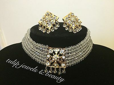 Indian / Pakistani  Choker Necklace With Ear Studs  Gold Plated Vintage Style