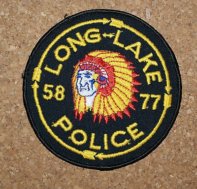 Unsewn Long Lake  Police Patch 4 7/8 x 3 5/8 Chief with Head Dress