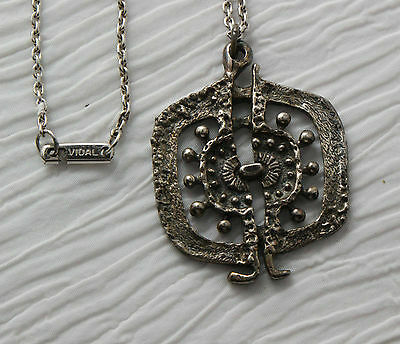 Guy Vidal Modernist Pendant With Chain Abstract Biomorphic design