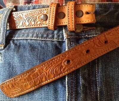 Justin Belt Strap Tan Cowhide Western Floral Embossed 3 Snap Size 30 Distressed