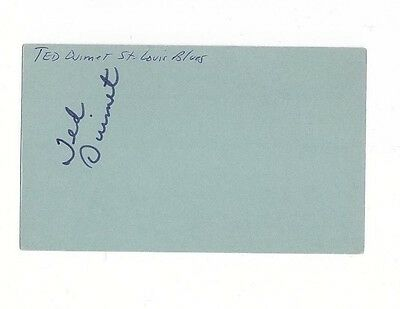 TED OUIMET SIGNED 3x5 INDEX CARD RARE AUTOGRAPH 1 GAME ST. LOUIS BLUES 1968-69