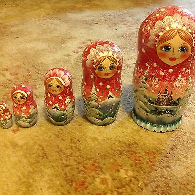 5 Piece Genuine Russian Doll Red