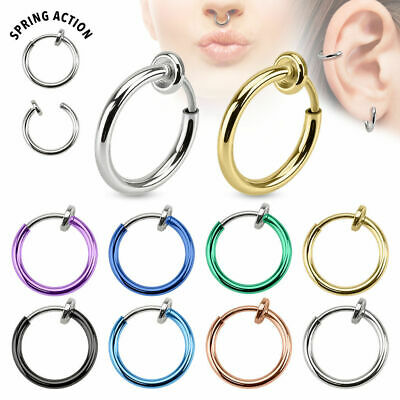 Fake Septum Piercing Ring Spring Piercing Silber Gold Helix Ohr Nasenpiercing