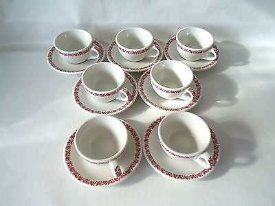 Vintage IROQUOIS China Syracuse NY SET OF 7 Cups and Saucers Restaurant Ware