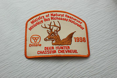 1998 ONTARIO MNR SUCCESSFULL  DEER HUNTER PATCH French / English