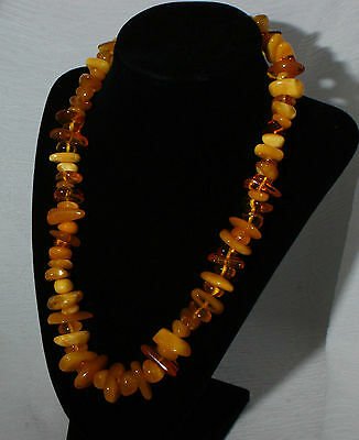 63 Gram Genuine Baltic Amber Necklace 50 cms Clear and Opaque Egg Yolk