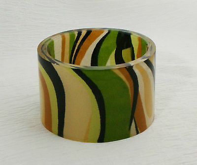 Vintage Fabric Inclusion Lucite Bangle Camouflage Colors For The Outdoors Girl