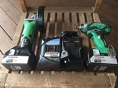 Hitachi 18v New 2 Pce Kit 1/2 Inch Impact Wrench & Grinder 2 Batteries & Charger