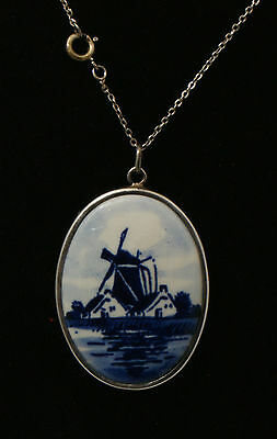 Delft Windmill Pendant in Sterling Silver Holder with .925 Chain