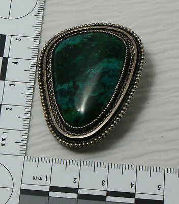 Large Eilat Stone Pendant Brooch  Pin Made in Israel .925 Sterling Mount