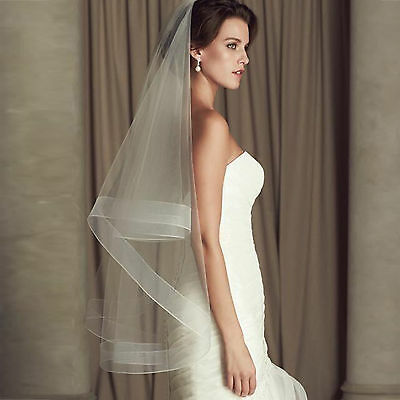 new 2 layer white / ivory fingertip veil bridal wedding veils with comb