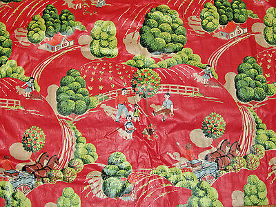 1950s Everfast Chintz Cotton Fabric Curtain Red Farm Horses Children Apple Trees
